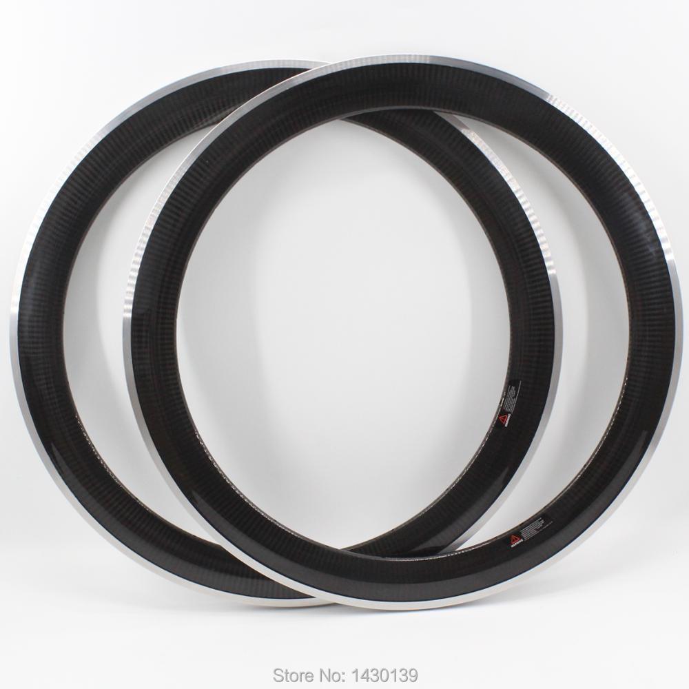 2 pièces plus récent 700C 60mm route fixe vitesse piste vélo 3 K twill carbone roues vélo pneu jantes avec alliage frein surface livraison gratuite