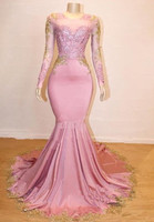 Pink Robe De Soiree 2019 Mermaid Long Sleeves Appliques Lace Beaded Sexy Long Prom Dresses Prom Gown Evening Dresses