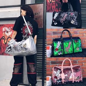 Image 3 - Wobag אופנה נשים נסיעות תיק מזדמן פאייטים מכתבי איש כתף אלכסונית תיק גדול קיבולת שחור/ורוד/כסף חיצוני