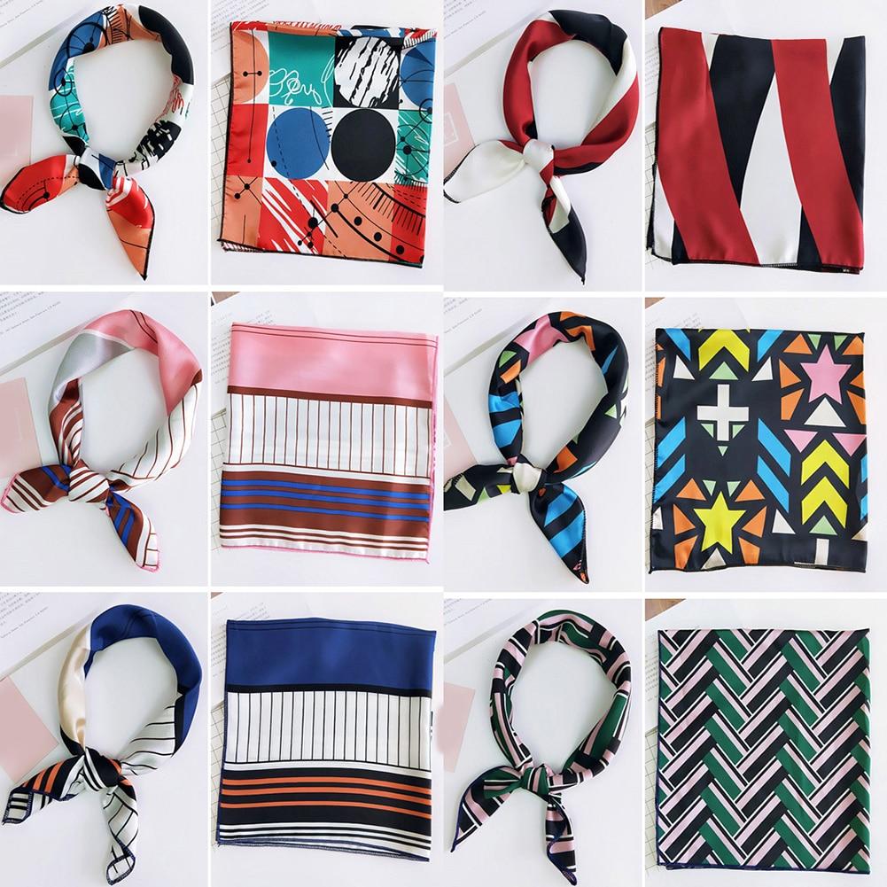 Small Square Silk Scarf Hair Tie Band DIY Women Head Neck Wrap Handkerchief Bandana Foulard Femme