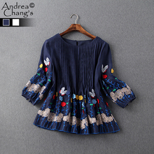 spring summer runway designer womens shirt blouse white dark blue pleated chest colorful butterfly flower embroidery brand top