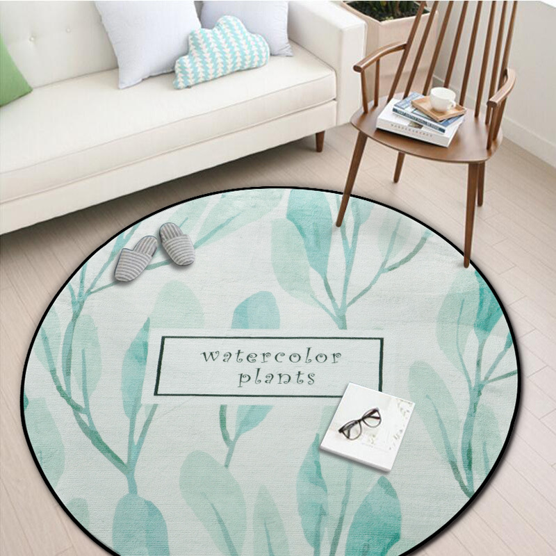 Zeegle Plants Painted Living Round Carpets Flannel Children's Room Rug Anti-slip Kids Bedroom Rugs Washable Sofa Chair Floor Mat