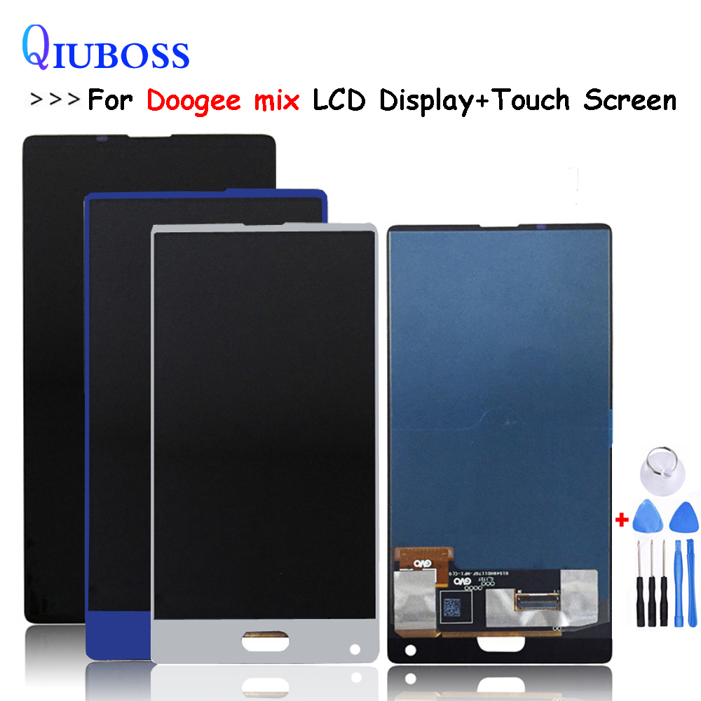 De Plata/azul/negro para Doogee mezcla pantalla LCD + asamblea de pantalla táctil Reparación de piezas de repuesto accesorios para doogee mezcla de lcd