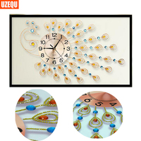 UzeQu Special Shaped 3D Diamond Embroidery Watch Peacock 5D DIY Diamond Painting Wall Clock Cross Stitch