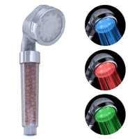 Förderung! LED Dusche Kopf Sprinkler Negative Ionen Anion Temperatur Sensor RGB Farbe