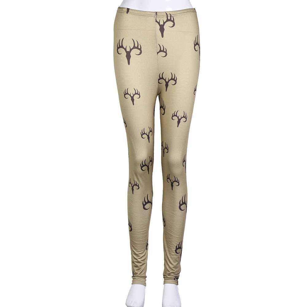 3D Christmas Deer Print Women Leggings