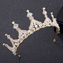New Arrival Golden Silver Crown Eu Crystal Queen Bridal Headdress Large Crown Princess Headwear Marriage Wedding Accessories(China)