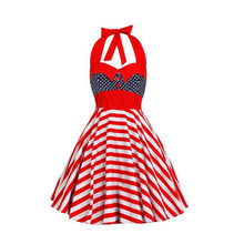 2017 New Fashion Rockabilly America USA Flag Print Independence Day 4/7 Halter Neck Vintage PIN Up Dress Party Vestidos(China)