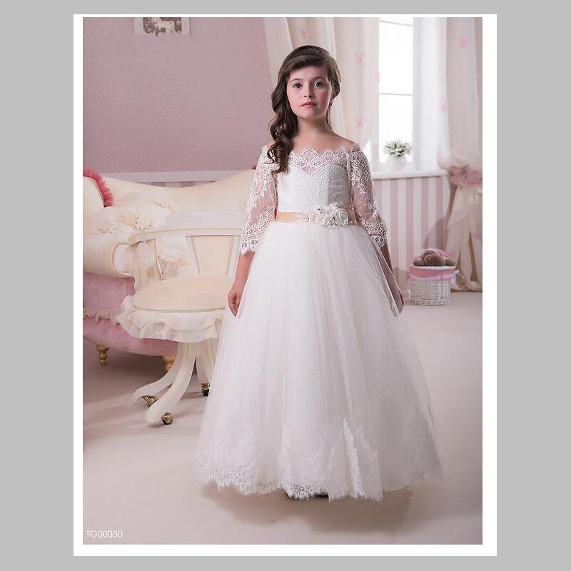 Free Shipping 3 4 sheer sleeve fluffy tulle ball gown   flower     girl     dresses   for weddings   girls   pageant   dresses