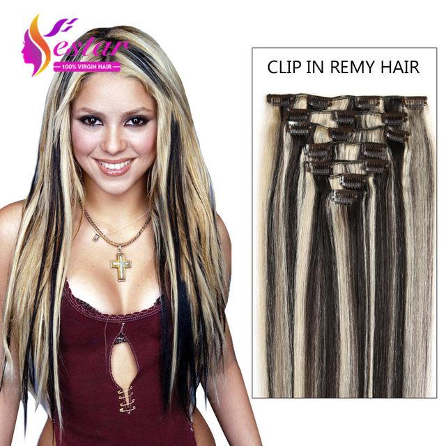 Grampo Em Extensões Do Cabelo humano 100% Cabelo Humano Remi Clips Humanos cabelo 24 de Polegada de Cabelo Humano Em Linha Reta 10 Pcs Clipe Em Grosso extensões