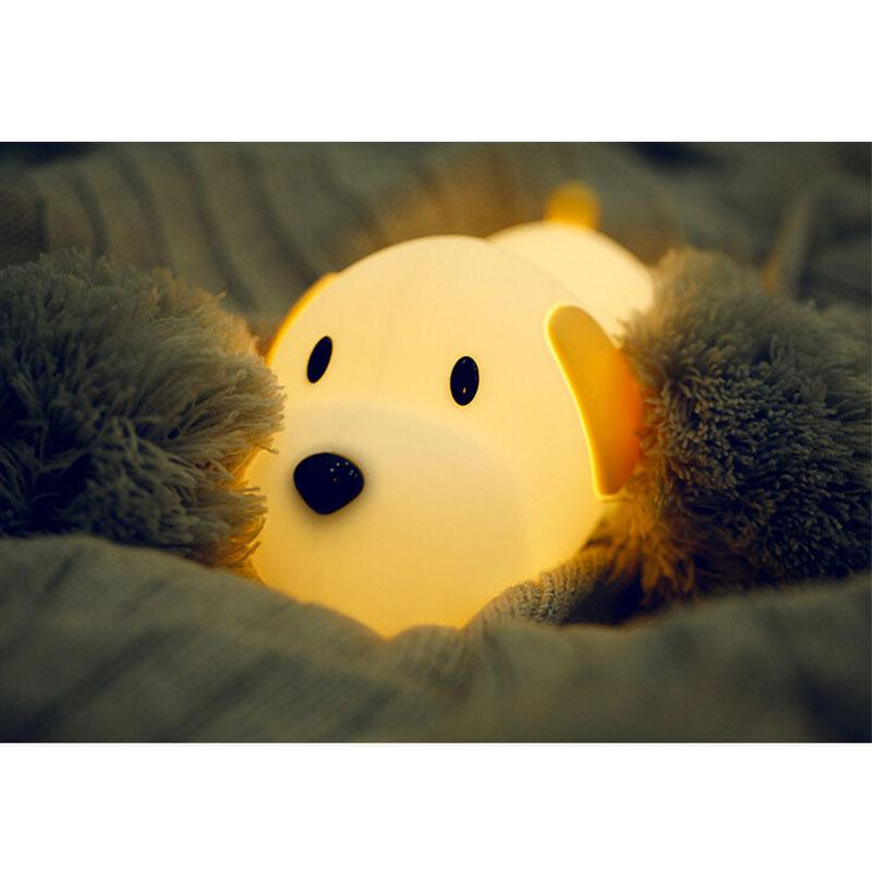 Cute Dog Lamp LED Night Light Creative Puppy Silicone Bedroom Bedside Night Lamp Rechargeable For Baby Children Gift
