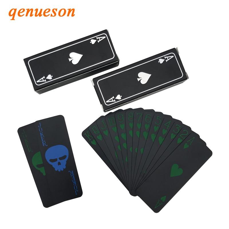 2 set/lote portátil Mini juego de póquer negro creativo esqueleto papel regalo plástico impermeable juego de cartas de juego 87*32mm qenueson Caja de almacenamiento de plástico con contenedor de dinero, juguetes transparentes de pirata, caja del Tesoro de cristal de pirata para niños, figuras de Anime