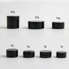 10x1 г, 2 г, 3 г, 5 г, 10 г, 20 г, портативные маленькие банки, коробка для горшка, макияж, дизайн ногтей, косметический контейнер для хранения бусин, черная банка для крема для путешествий