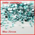Diamantes de imitación para nails10000pcs/lot color Azul Circón 3 MM parte posterior plana de acrílico uñas Decoración de uñas brillo del arte del polvo