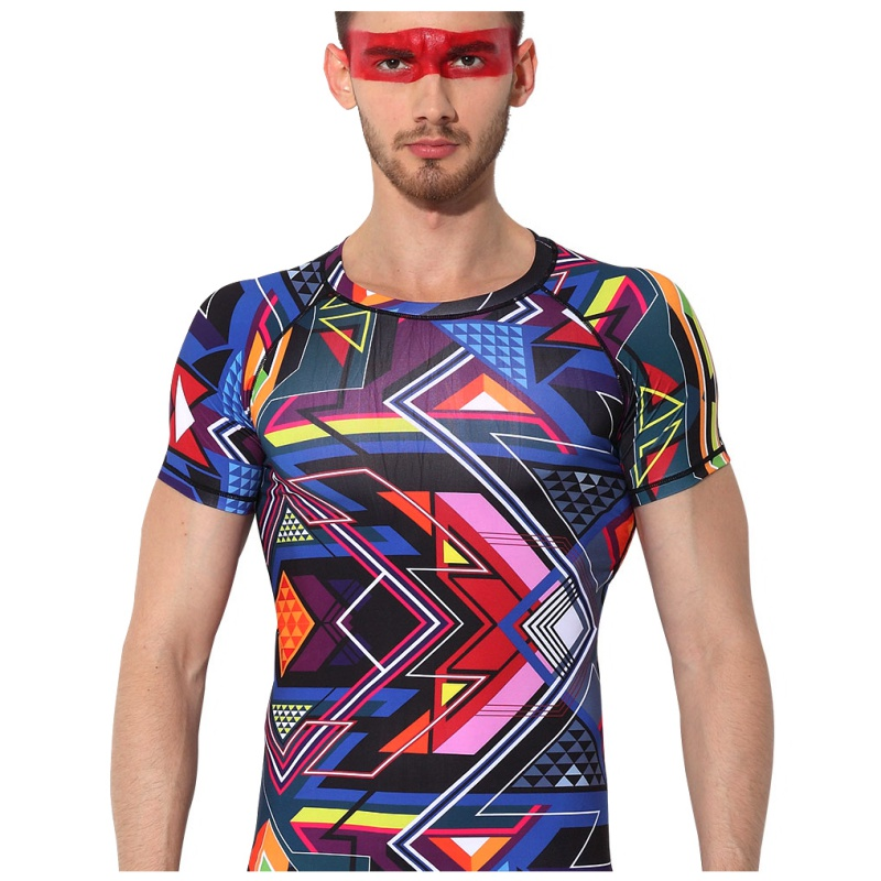 Creative Man Male Short Sleeve Open Air Quick Drying Bottoming T Shirt Exercise Bodybuilding Compression Tights 2018