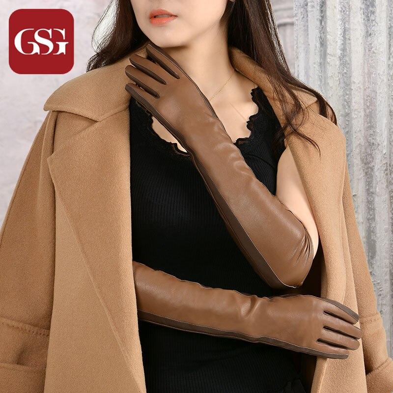 GSG Kadınlar Uzun Deri Eldiven Moda Koyun Derisi Eldiven Bayanlar - Elbise aksesuarları - Fotoğraf 2