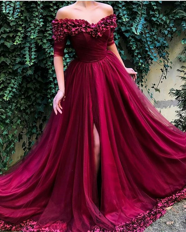 Peorchidée vin rouge robes De soirée fleurs Tulle 2019 demi manches Traje De Noche Floral robes De soirée longue fête robe De bal