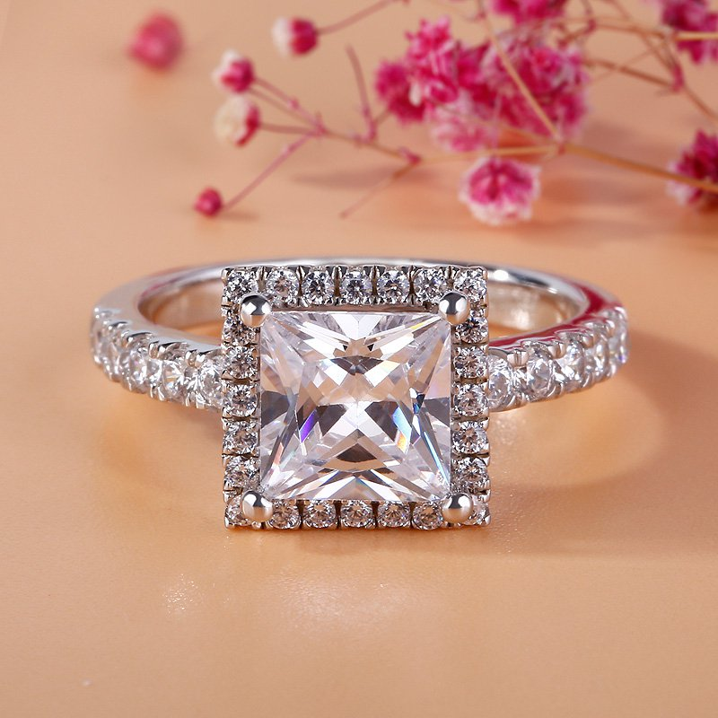 Fashion Princess Sterling silver Rings Stamp 10KT Luxury Wedding Engagement Acessories 5a Zircon CZJewelry for Women size 5-10Fashion Princess Sterling silver Rings Stamp 10KT Luxury Wedding Engagement Acessories 5a Zircon CZJewelry for Women size 5-10