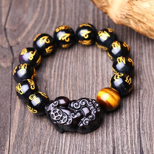 Piedra Natural de Obsidiana Pulsera de Om Mani Padme Hum Beads Tropas Valientes (Pi) Ojo de tigre de Piedra de la Suerte Accesorios de La Joyería