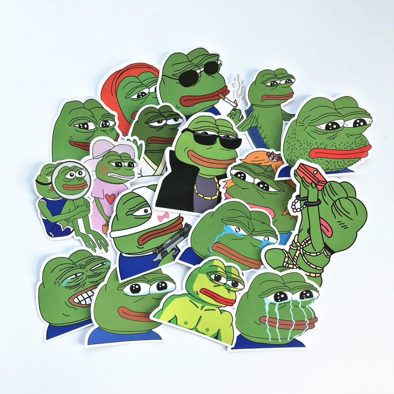 TD ZW 2019 17Pcs/lot Pepe Sad Frog Stickers Decal For Snowboard Luggage Car Fridge Car- Styling Laptop Stickers
