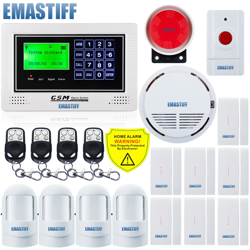 Android APP Keypad+LCD Display Screen Wireless SOS Panic Button Fire Smoke sensor Kit GSM SMS Home Security Burglar House Alarm wireless smoke fire detector for wireless for touch keypad panel wifi gsm home security burglar voice alarm system