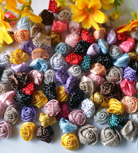 100pcs/lot 15mm DIY Rosette Flower mixed Dot Ribbon Rose for  Kids Garment or Craft jewelry accessory scrapbooking