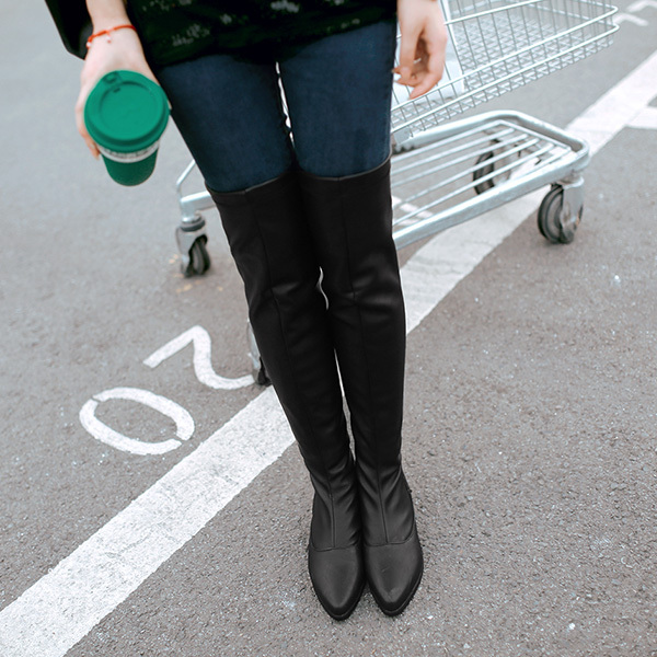 ФОТО 2014 autumn and winter fashion sexy women's slim Square heel tight stretch over the knee boots high heel boots SIZE 34-39 XY382