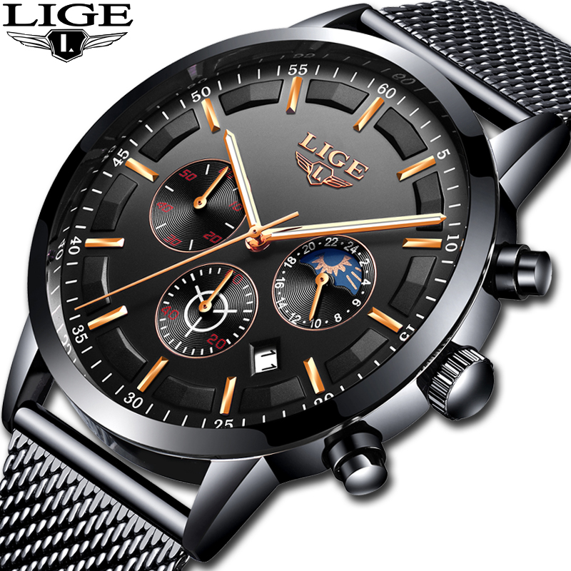 Relogio LIGE Mens Watches Top Brand Luxury Casual Quartz Wristwatch Men Fashion Stainless Steel Waterproof Sport Chronograph+Box-in Quartz Watches from Watches
