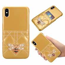 Fashion Card Slot Diamond Metallic Bee Glitter Leather Case For iPhone 6 6S 7 8 Plus X XS XR Max Hard Cell Phones Cover Coque