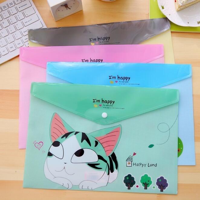 24pcs/lot 335*230mm Kawaii Happy Cat A4 File Bag PVC Waterproof Filebag Document Bag DIY Stationery Bag Office School Supplies