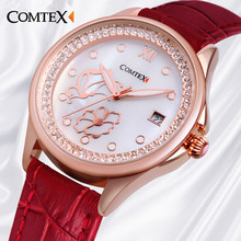 Comtex luxury fashion brand Classic Women Watch Casual leather belt Quartz Watch Waterproof Calendar butterfly watches clock red