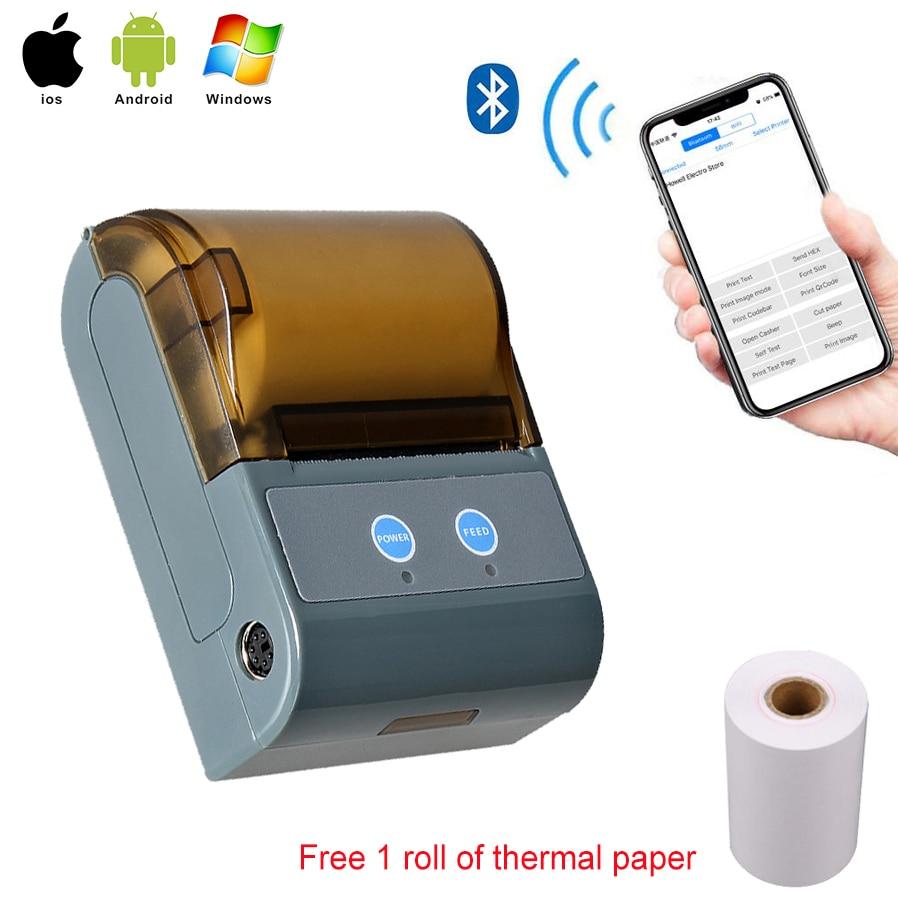 Portable Bluetooth Thermal Receipt Printer Pocket Printer POS Thermal Receipt Printer For IOS Android Windows Tablet