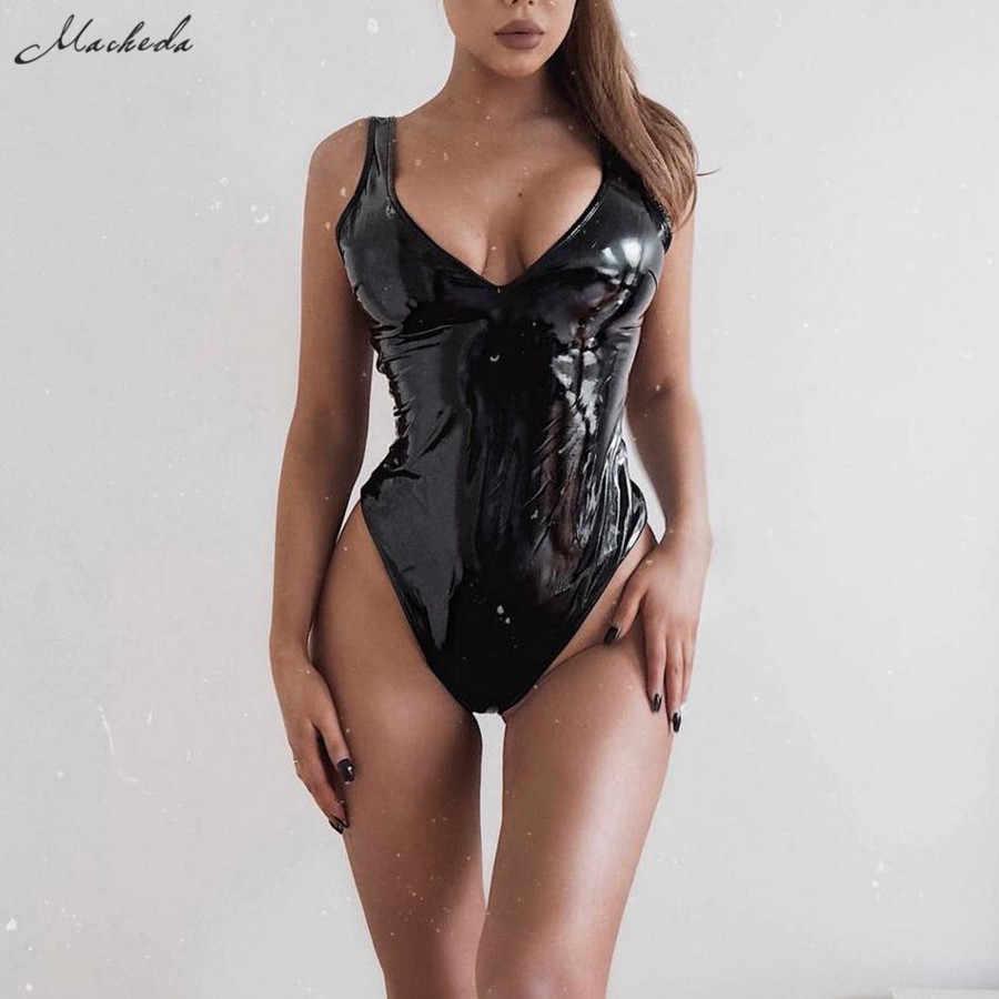 Macheda preto couro do plutônio sexy com decote em v bodysuit feminino magro verão praia casual senhoras magro macacão 2019 nova chegada