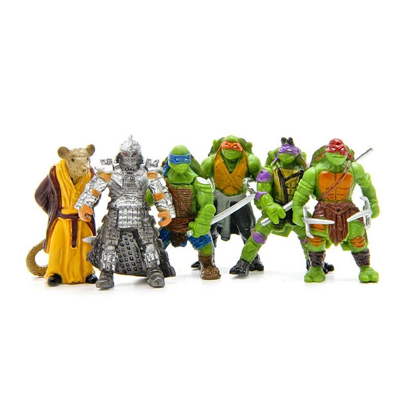 6 unids/lote verde trolls figuras de juguete tortuga guerreros ...