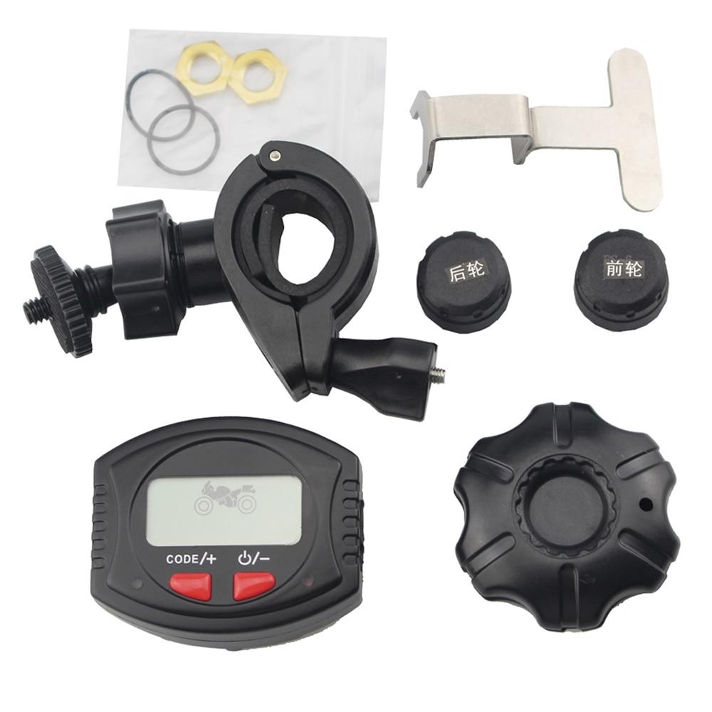 Motorcycle Wireless Tire Pressure Monitoring System Motorbike Handlebar Mount TPMS LCD Display Waterproof 2 External Sensors