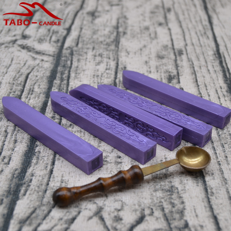 Violet Color DIY Craft Manuscript Sealing Wax Stick 5 Pcs and 1 Vintage Wax Spoon for Sealing Wax Stamp Envitation Card big copper spoon big large size stamp spoon vintage wooden handle brass spoon for sealing wax stamp wax stick spoon