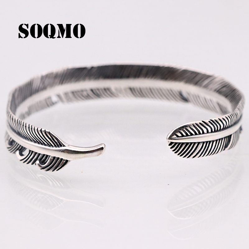 SOQMO 925 Sterling Silver Feather Shape Open Cuff Bangle Bracelet for Men or Women Puck Classic Retro Style Jewelry SQM067 trendy christmas style elk shape cuff ring for women