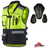Motorcycle CE Reflective Vest High Visible Safety Vest Motorbike Racing Protection Riding Cloth Jackets With Chest Back Pads