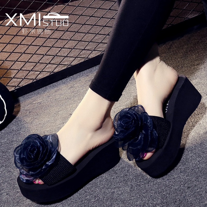 summer Slippers women New High heel Word trailer Korean version Flowers fashion flip flop Thick bottom Non-slip Beach shoes