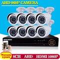 Sistema de CCTV 8ch 1080 P AHD DVR grabador NVR Full HD 8 unids 1.3mp 960 p ahd sistema sony imx238 cámara al aire libre/de interior de la cámara Kit