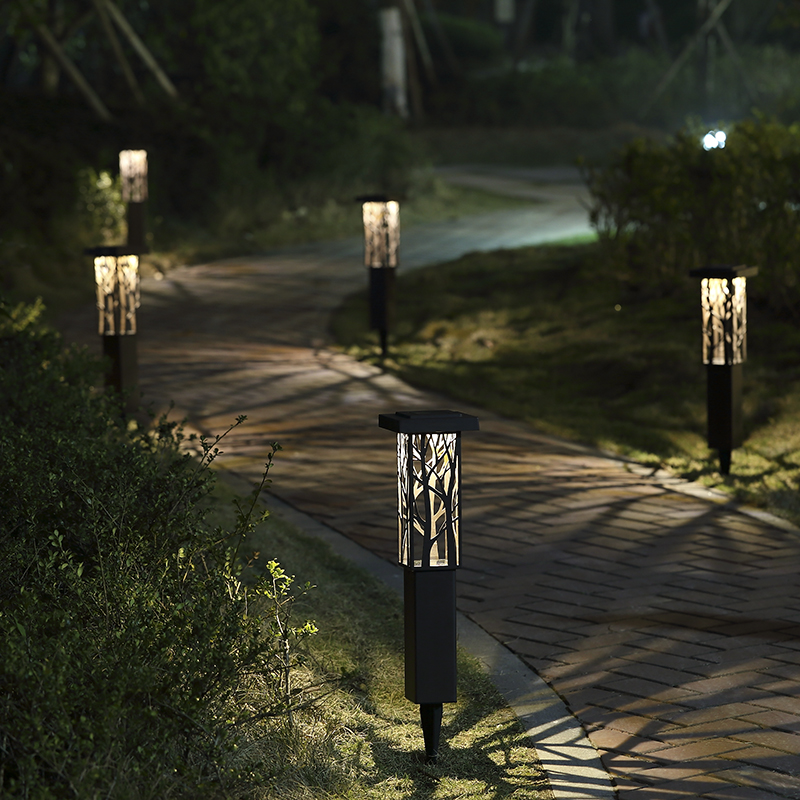 Stainless Steel Solar panel LED Spike Light Hollow Engraving Landscape Garden Path Lawn Solar Lamps Outdoor Grounding Sun Light 10pcs led lawn lamp solar panel led spike spot light lawn light landscape garden path lawn solar lamps outdoor grounding light