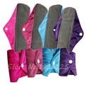 Plain Color Regular Cloth Pads Organic Charcoal Bamboo Menstrual Sanitary Pads Washable Feminine Pads