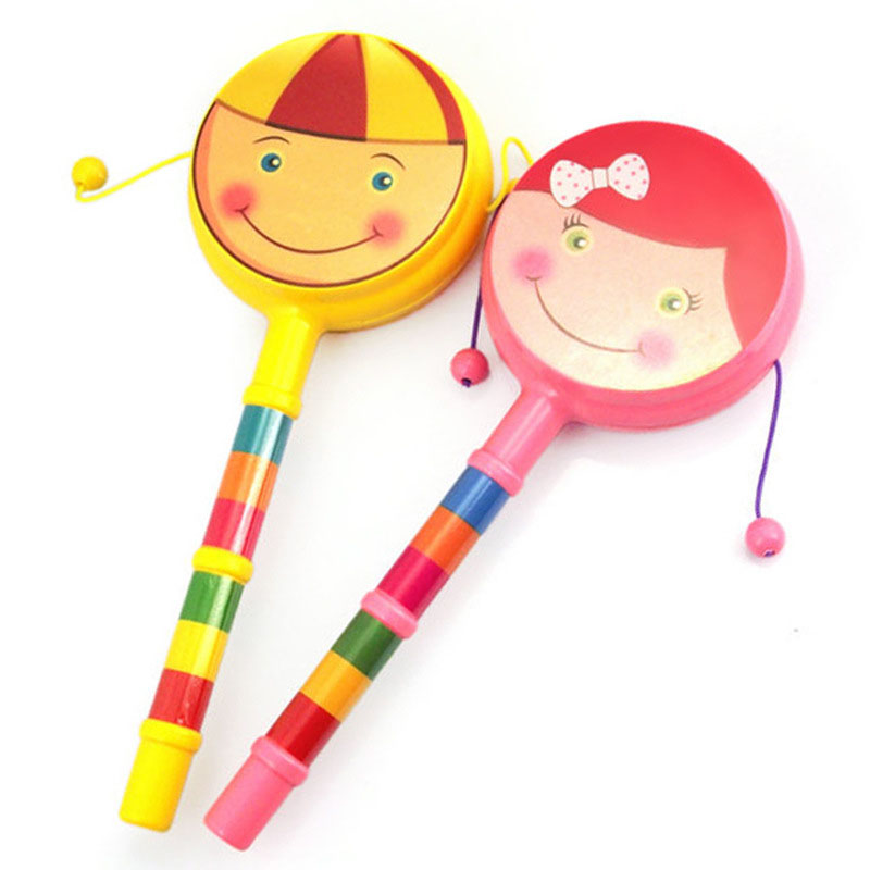 NEW Smile Baby Kids Children Shaking Wooden Rattle Drum Musical Hand Bell Drum Toy Percussion Educational Musical Instrument Toy
