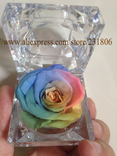 Бесплатная доставка, Сохранились розы вечная цветок кольцо box красочные розы, День святого валентина подарок, естественно, реальные. рождественский подарок