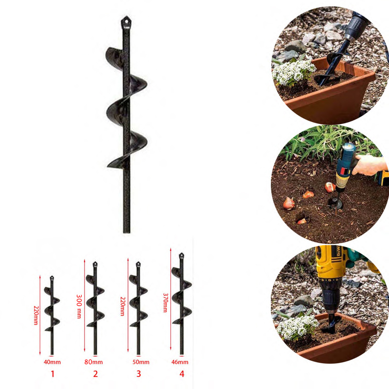 NEW Garden Auger Spiral Drill Bit Roto Flower Planter Bulb Shaft Drill Auger Yard Gardening Bedding Planting Hole Digger Tool