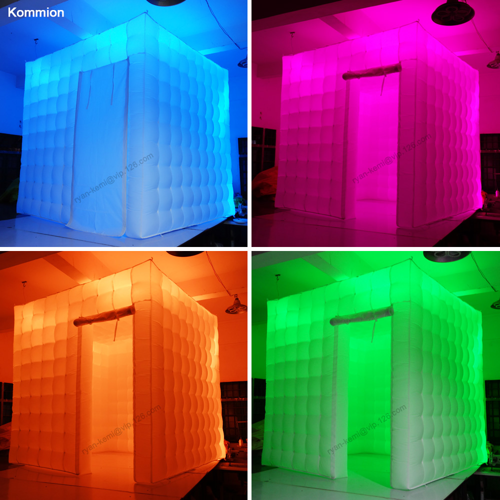 2.5m-8.2ft-inflatable-photo-booth-LED-lighting-portable-inflatable-photo-tent-enclosure-cube-tent-with-color changing LED