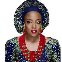 Hot Nigerian Wedding Beads Jewelry Set Womens Red Ball Crystal Beads Necklace African Wedding Beads Bridal Jewelry Set 2018