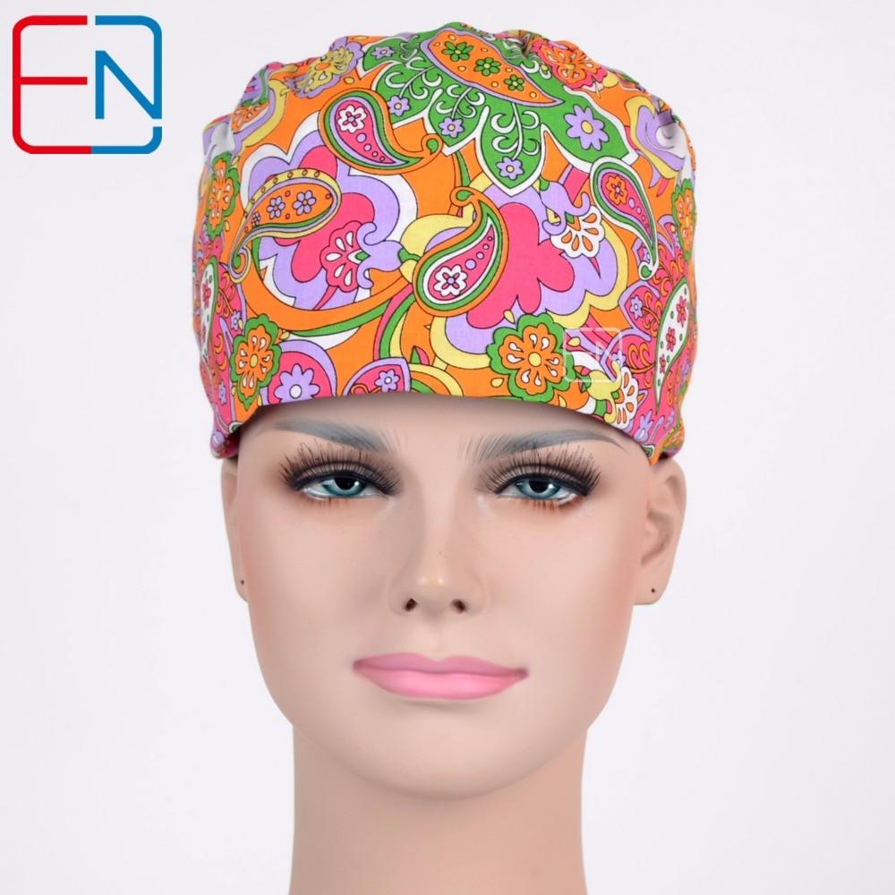 Hennar Surgical Caps Adjustable Size Nursing Scrub Hats Short&Long Medical Hospital Clinical Caps Medical Accessories Caps Masks
