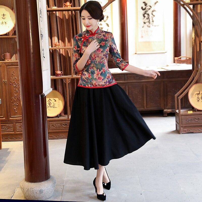 New Summer Womens Blouse Skirt Sets Traditional Chinese 2pc Shirt Mandarin Collar Cheongsam Button Dress Size S-XXXL 9964
