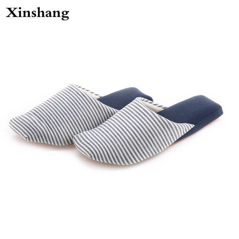 High Quality Men Striped Cotton Slippers Linen Fabric Plush Slides Soft Woman Home Slipper Couple Fashion Causal Warm Shoes